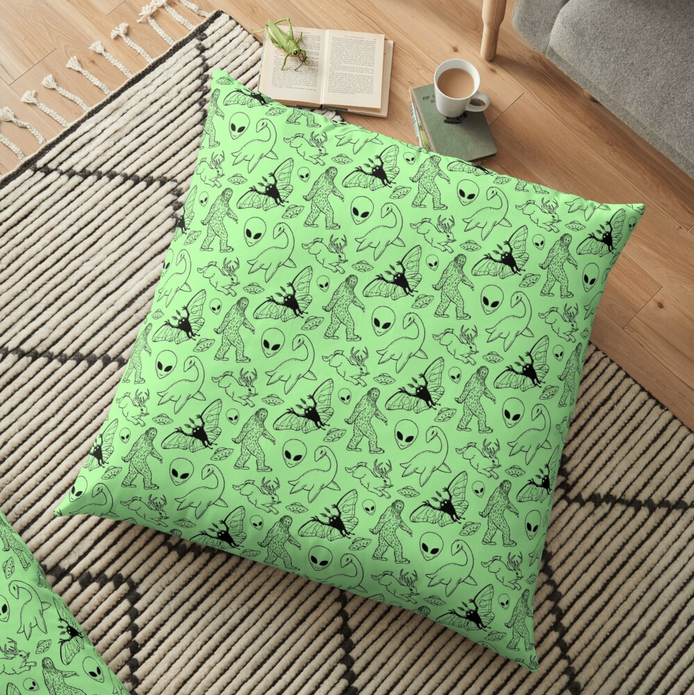 Cryptid Pattern (Green Background) Floor Pillow