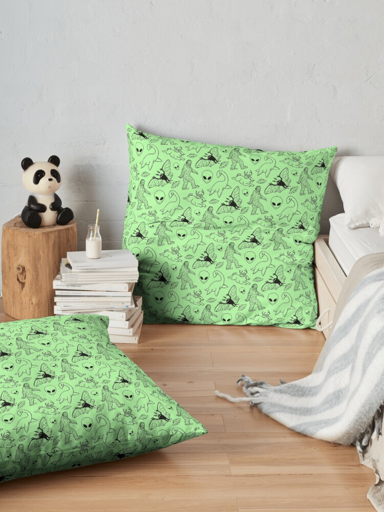 Alternate view of Cryptid Pattern (Green Background) Floor Pillow