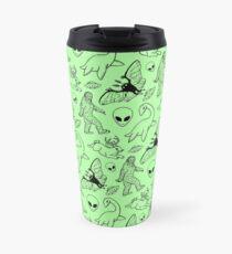 Cryptid Pattern (Green Background) Travel Mug