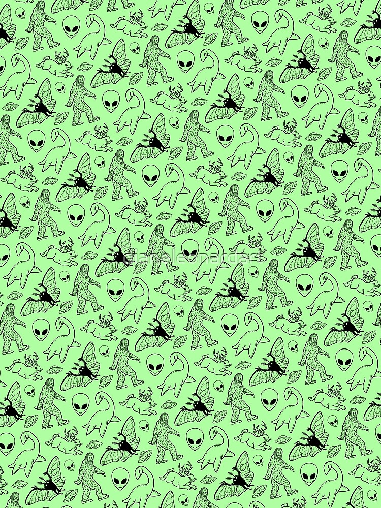 Cryptid Pattern (Green Background) by dianeleonardart