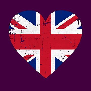 Union Jack Flag Heart Distressed Art Gift by pbng80