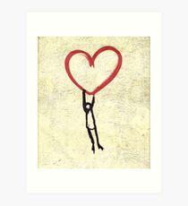 Flying Heart, Flying Boy, Romantic Canvas  Art Print