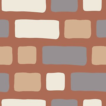 Rustic Bricks Pattern-Terracotta Coloured Background by broadmeadow
