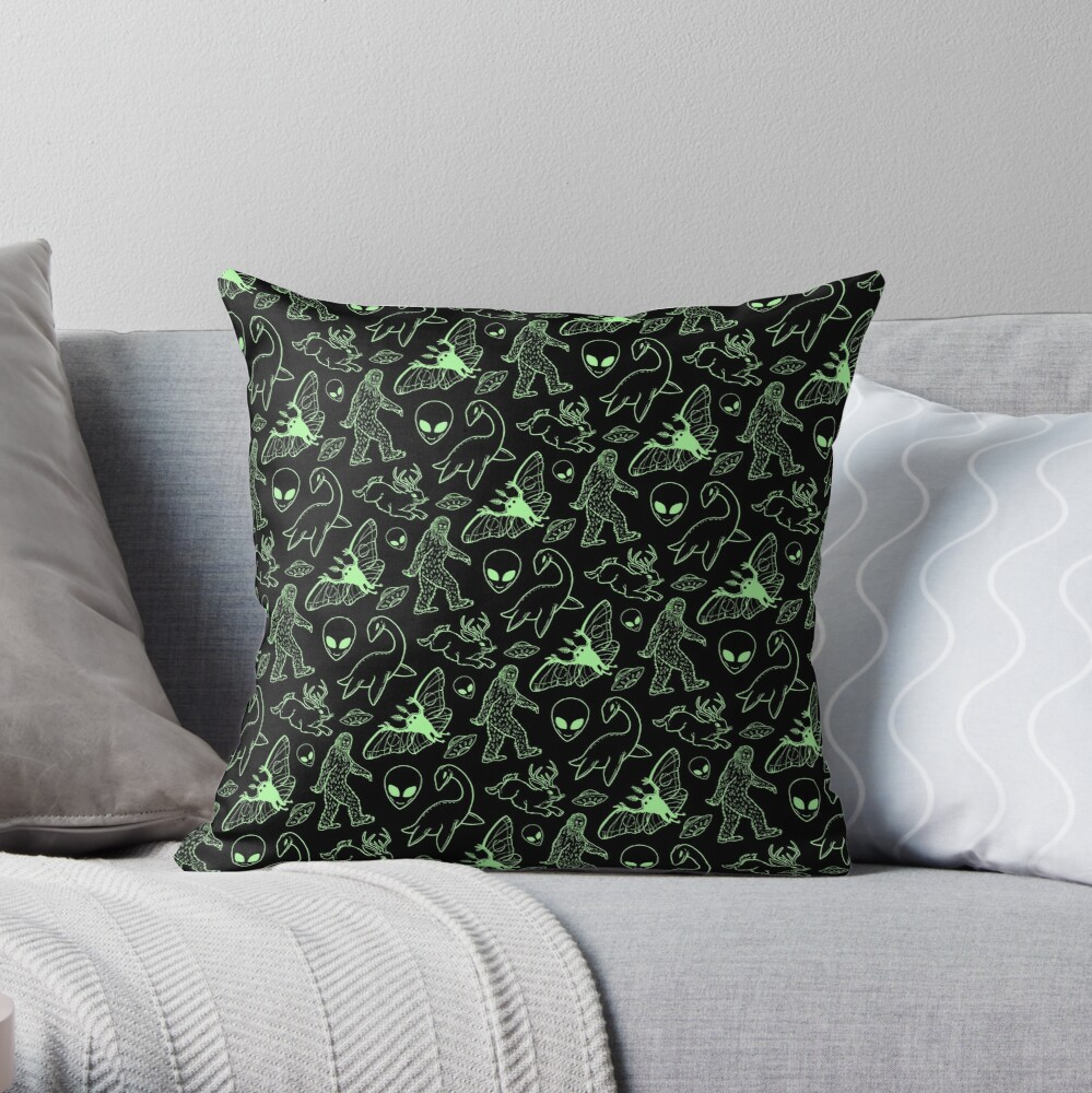 Cryptid Pattern (Green Lines) Throw Pillow