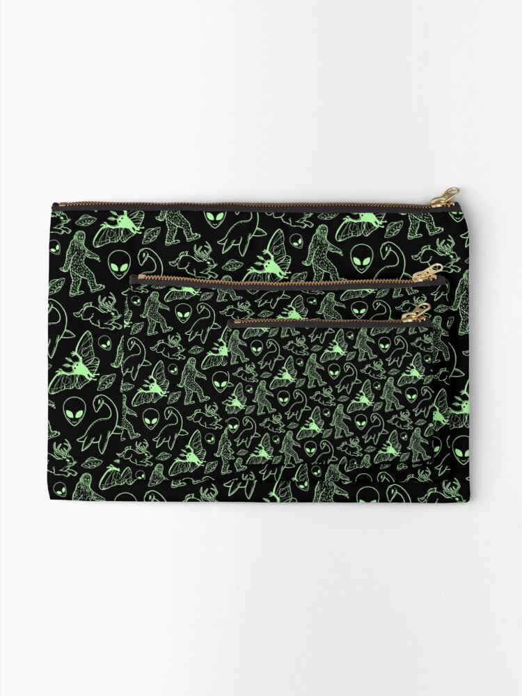 Alternate view of Cryptid Pattern (Green Lines) Zipper Pouch