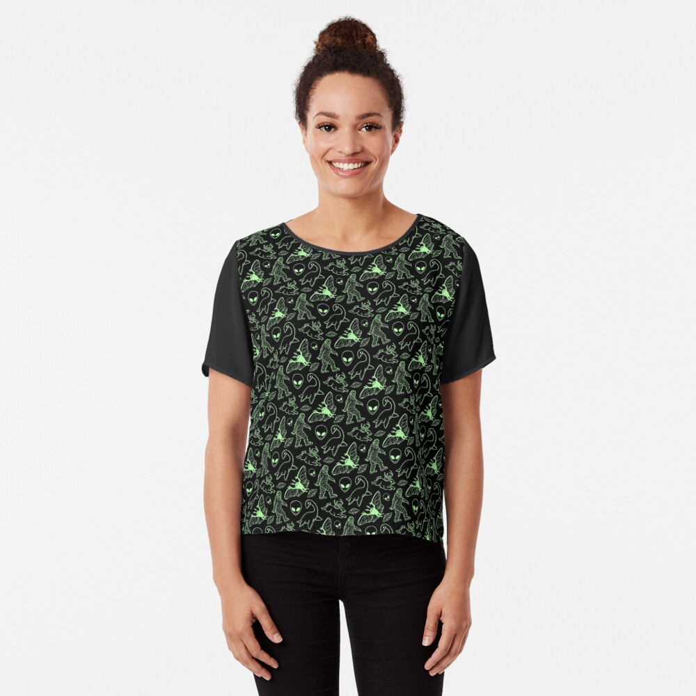 Cryptid Pattern (Green Lines) Chiffon Top