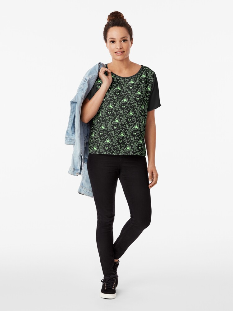 Alternate view of Cryptid Pattern (Green Lines) Chiffon Top