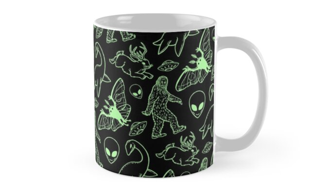 Cryptid Pattern (Green Lines) by Diane LeonardArt
