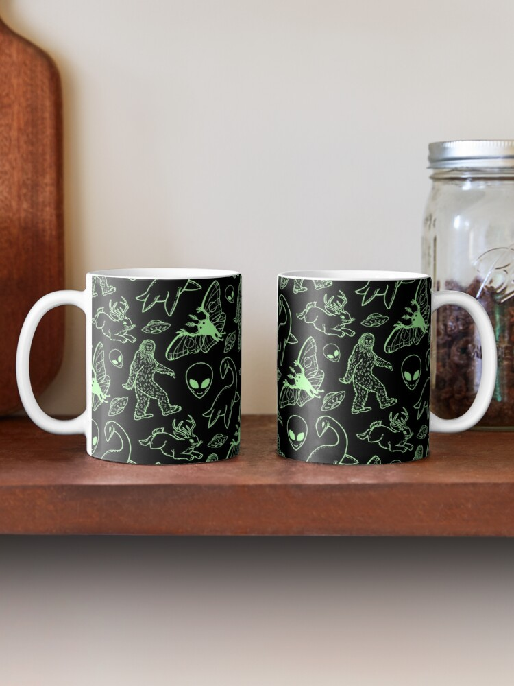 Alternate view of Cryptid Pattern (Green Lines) Mug