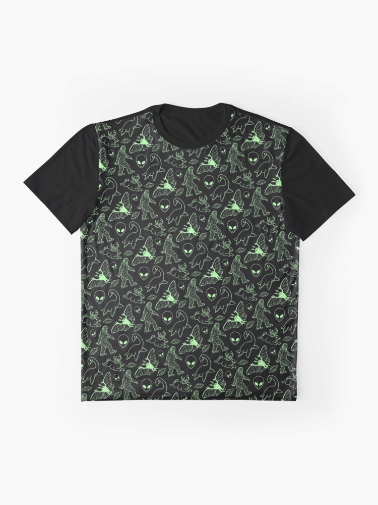 Alternate view of Cryptid Pattern (Green Lines) Graphic T-Shirt