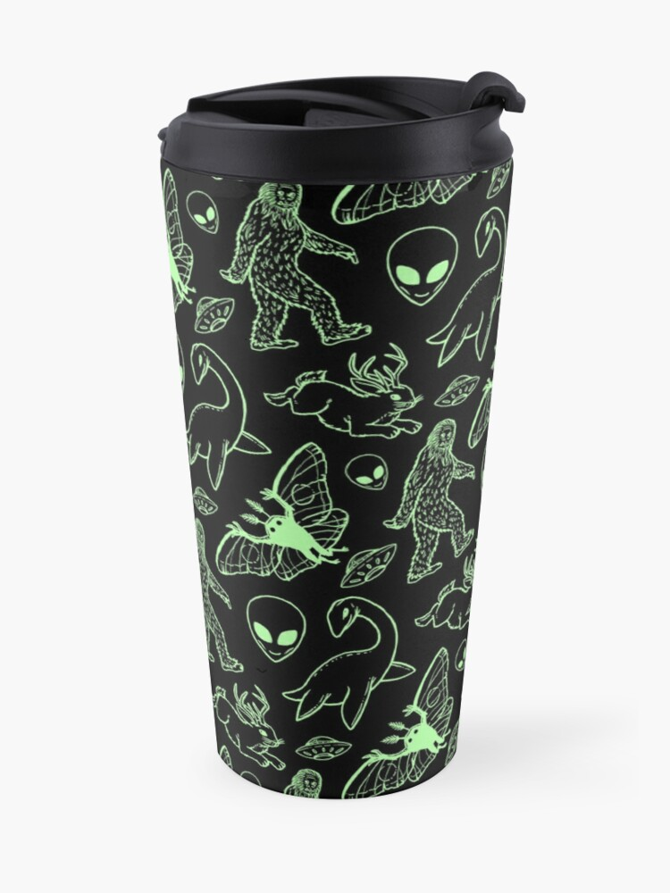 Alternate view of Cryptid Pattern (Green Lines) Travel Mug