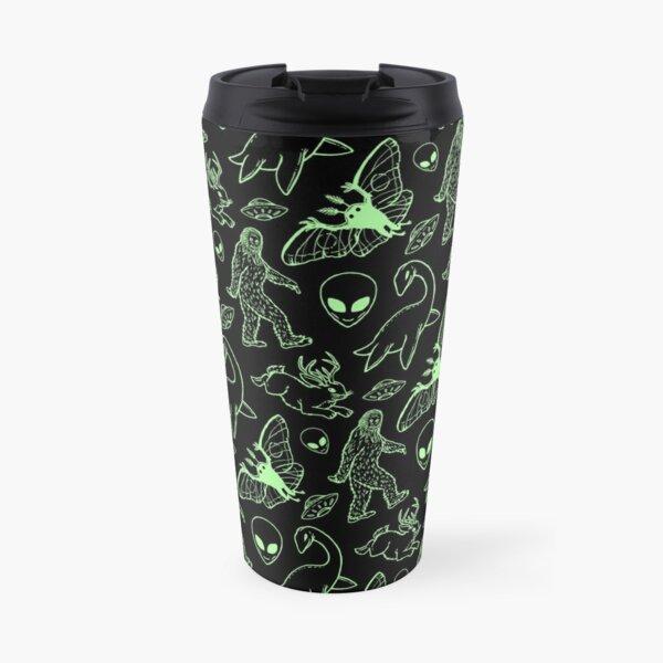 Cryptid Pattern (Green Lines) Travel Mug