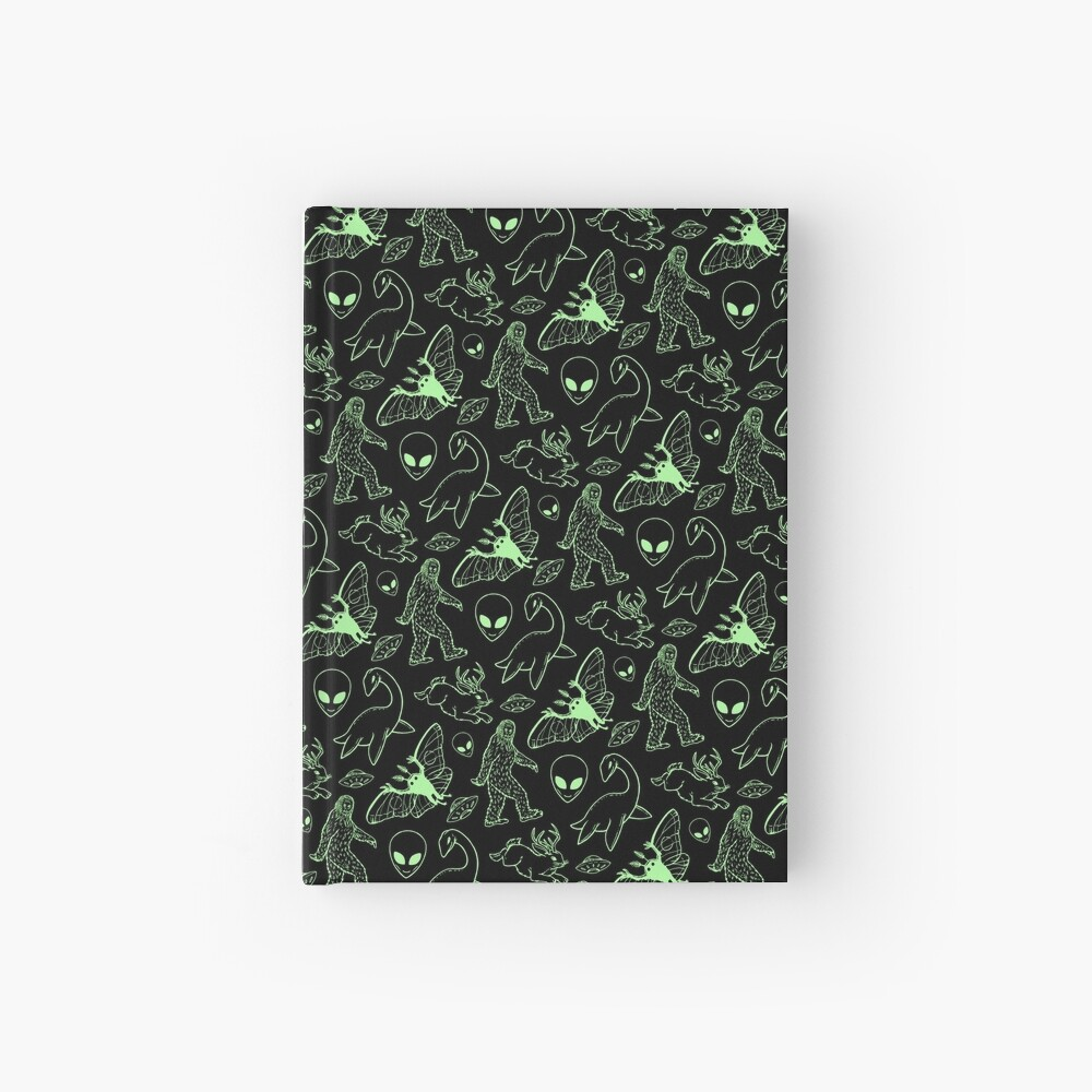 Cryptid Pattern (Green Lines) Hardcover Journal