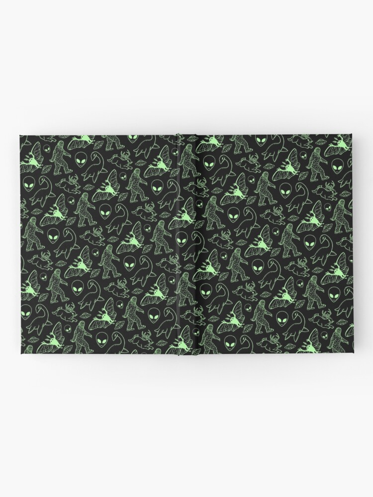 Alternate view of Cryptid Pattern (Green Lines) Hardcover Journal