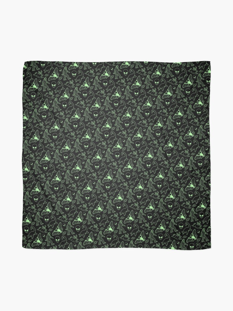 Alternate view of Cryptid Pattern (Green Lines) Scarf