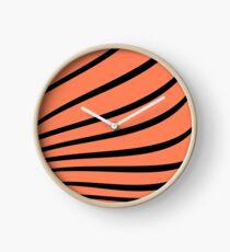 Textured, zebra, lines, black and orange, abstract, beautiful, amazing Clock