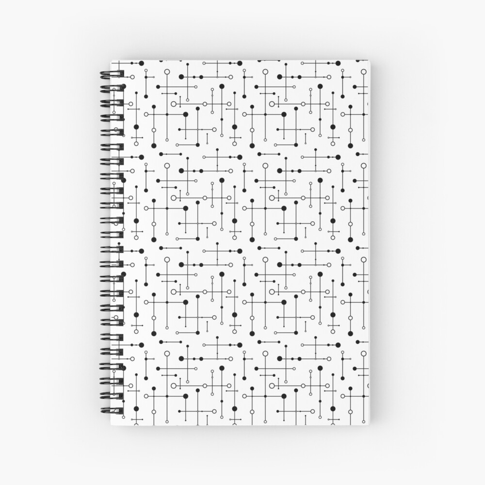 Mid Century Styled Lines & Dots  Spiral Notebook