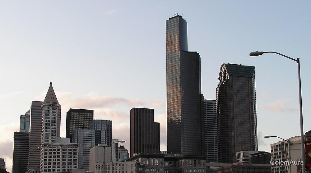 Seattle Skyline at Dusk by GolemAura