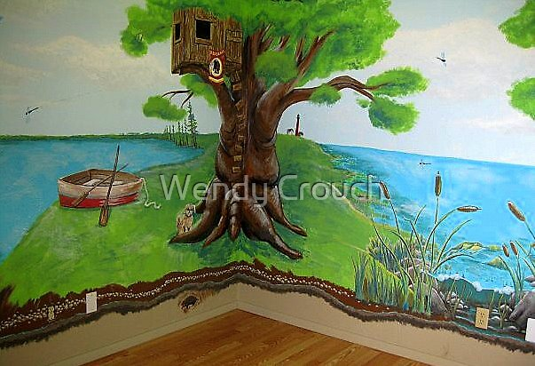 Tree-house, dog & boat by Wendy Crouch