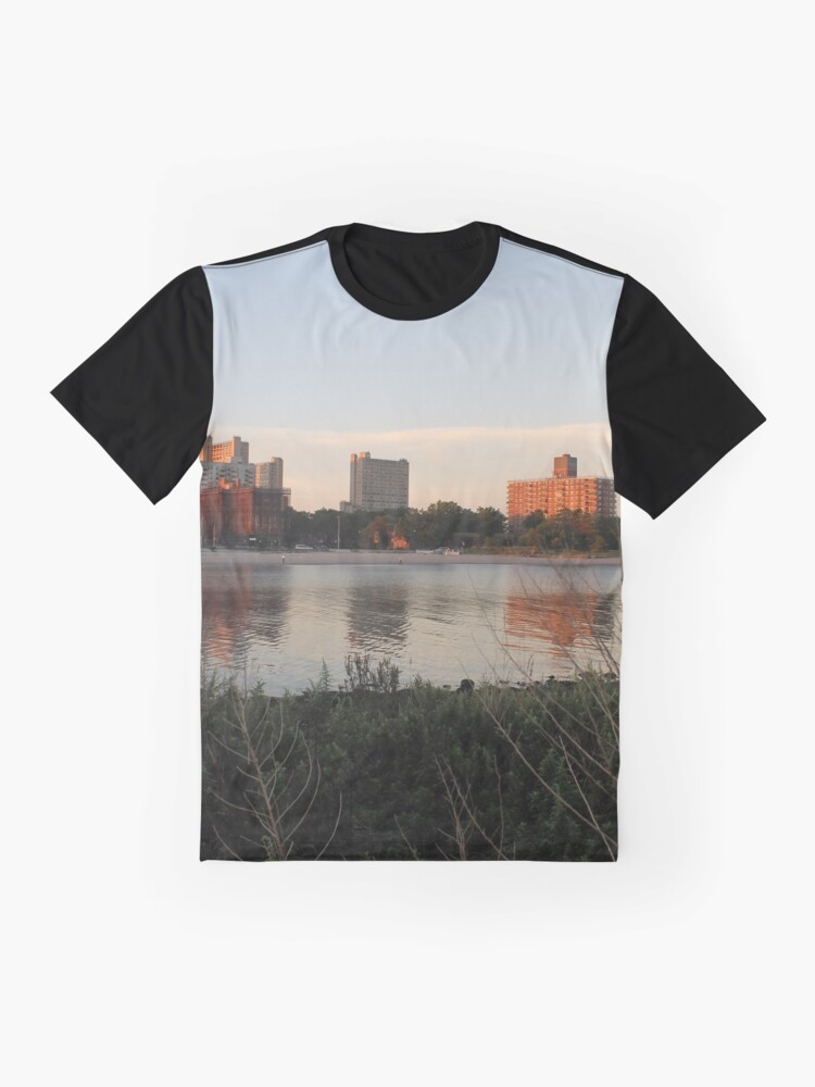 Alternate view of #city #skyline #water #river #cityscape #urban #building #architecture #sky #blue #buildings #panorama #view #downtown #sunset #park #reflection #travel #evening #dusk #lake #panoramic #newyork Graphic T-Shirt