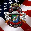 75th Ranger Regiment - Army Rangers Special Edition over American Flag by Serge Averbukh