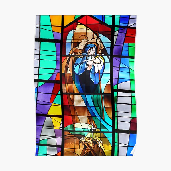 Stained Glass Nativity Scene Poster