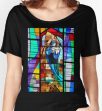 Stained Glass Nativity Scene Women's Relaxed Fit T-Shirt