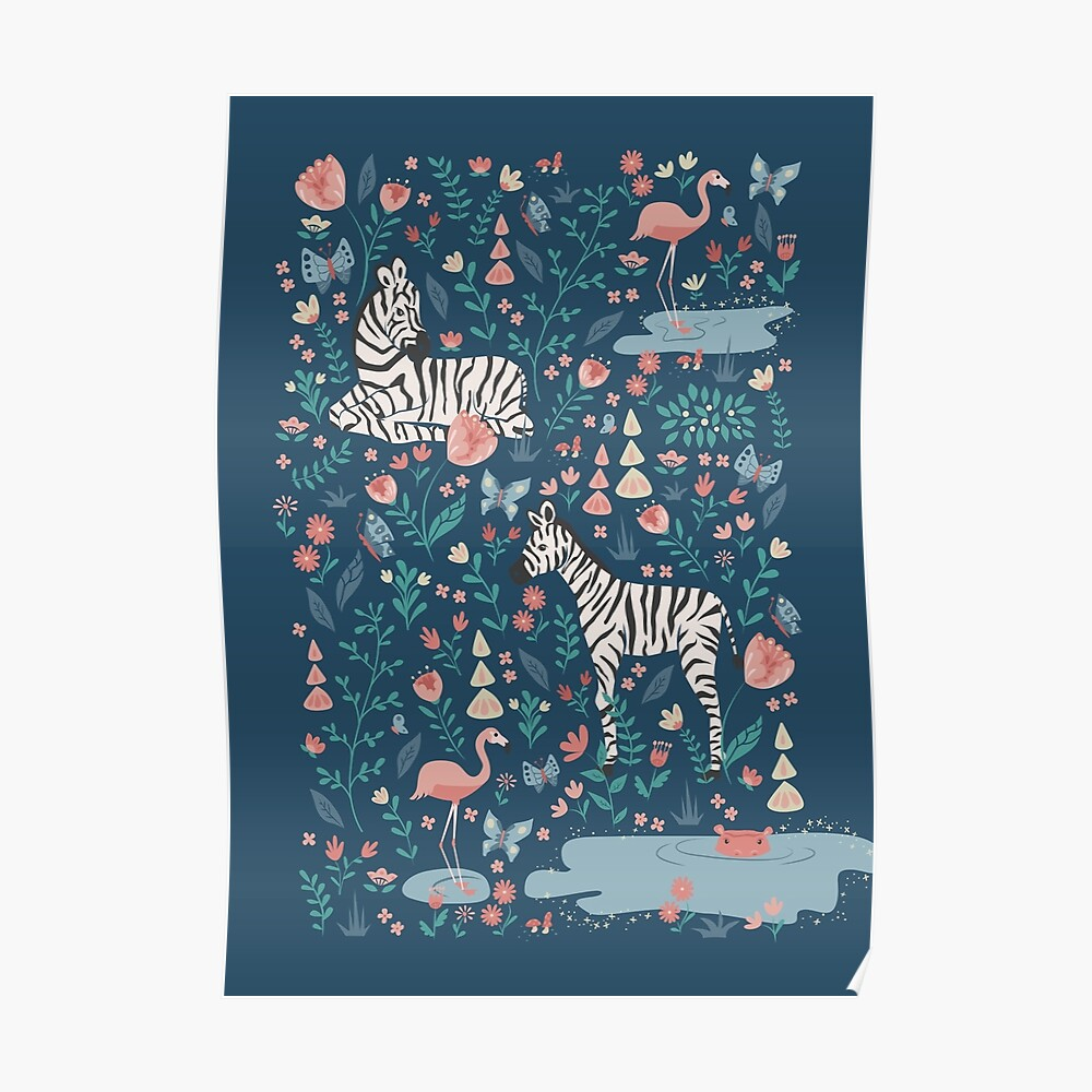 Wild Zebras in the Garden - Blue Poster