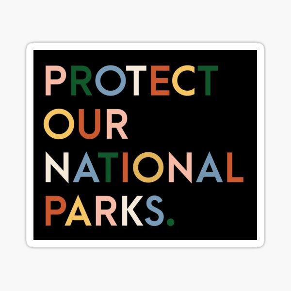 Proteja nuestros parques nacionales: fuentes modernas de colores del arco iris Pegatina