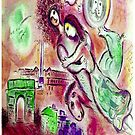 ROMEO et JULIETTE : Abstract Modern Chagall Style Print by posterbobs