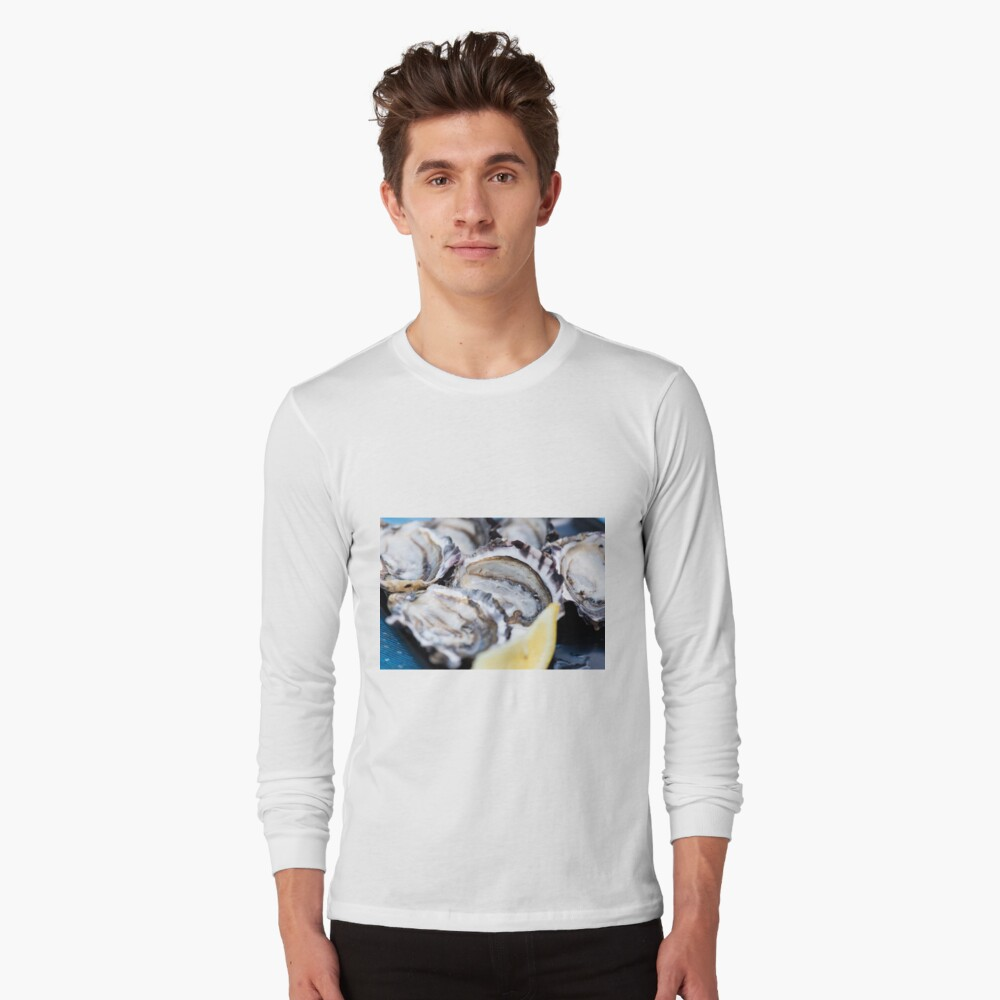 Closeup of fresh shucked oysters. Long Sleeve T-Shirt Front