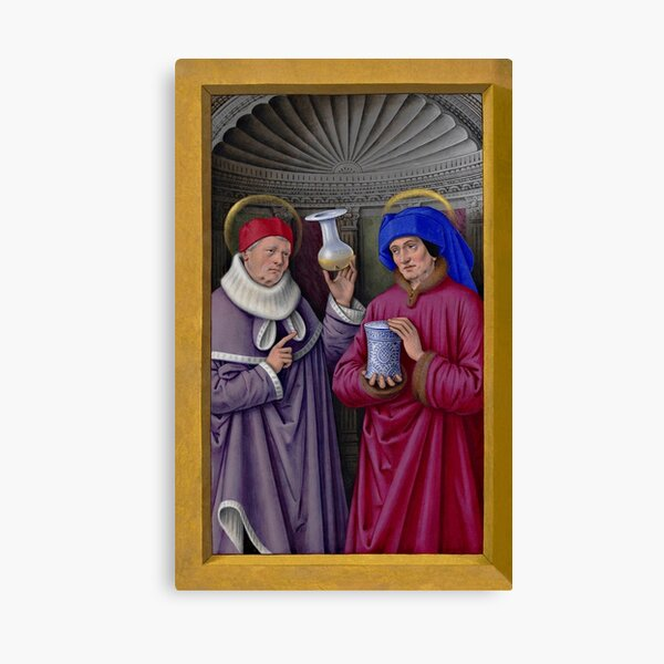 Saints Cosmas and Damian, miniature from the Grandes Heures of Anne of Brittany - Jean Bourdichon Canvas Print
