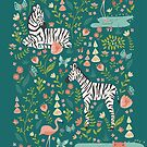 Zebras in Wild Garden in Green by latheandquill
