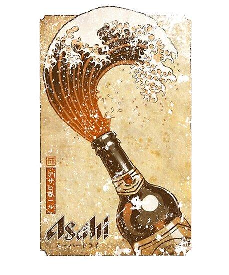 Die große Welle vor Kanagawa - Vintage japanisches Bier-Plakat-Design von vapor wear