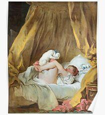 Girl with dog - Jean-Honoré Fragonard Poster