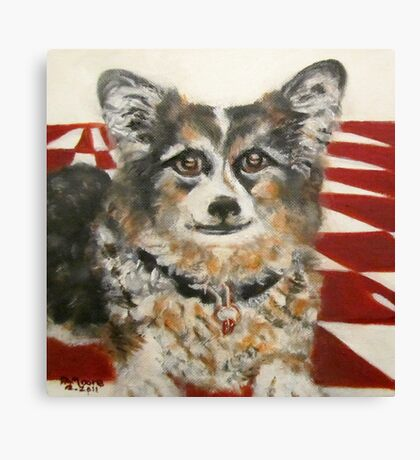 Corgi in the Kitchen Canvas Print