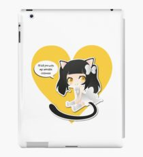 I'll kill you with my adorable cuteness! Black/white/yellow with heart iPad Case/Skin