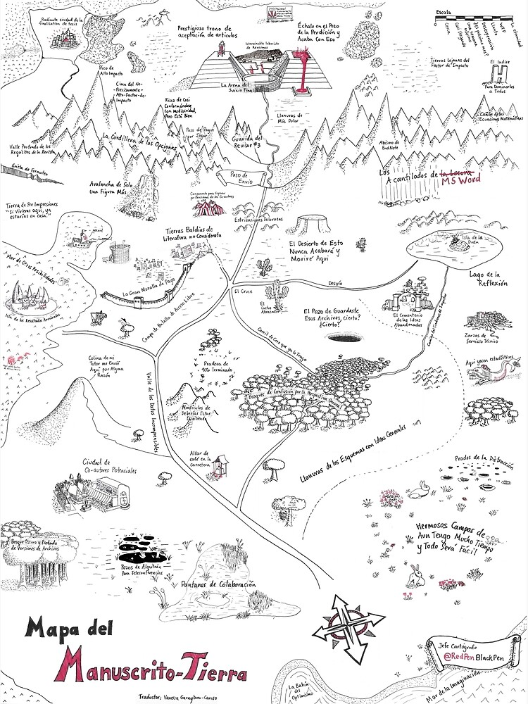 The Map of Manuscript Earth - in Spanish! by redpenblackpen