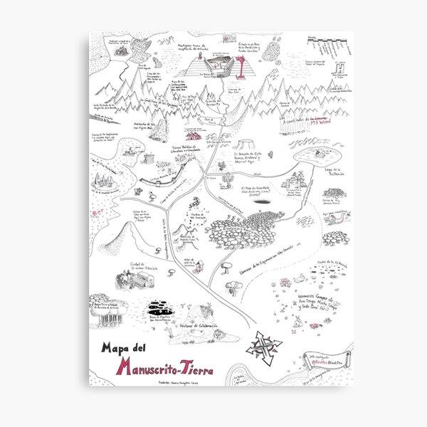The Map of Manuscript Earth - in Spanish! Metal Print