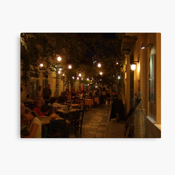Restaurant Street (Ermoupolis, Syros) Canvas Print