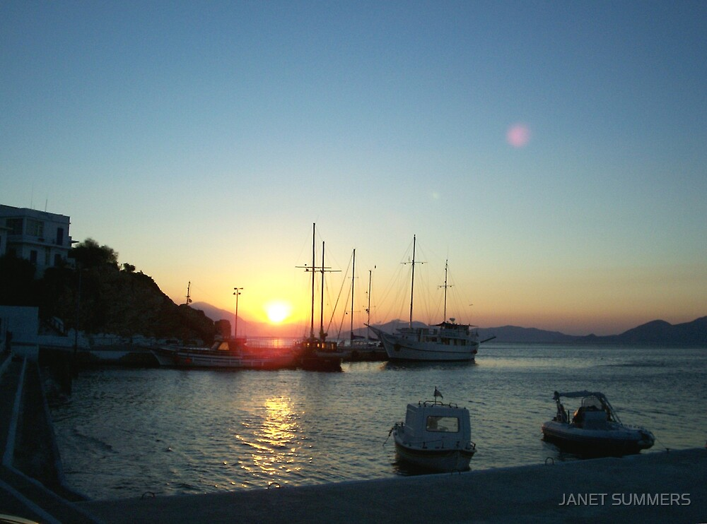Sunrise with full moon,Ikaria, Samos by JANET SUMMERS