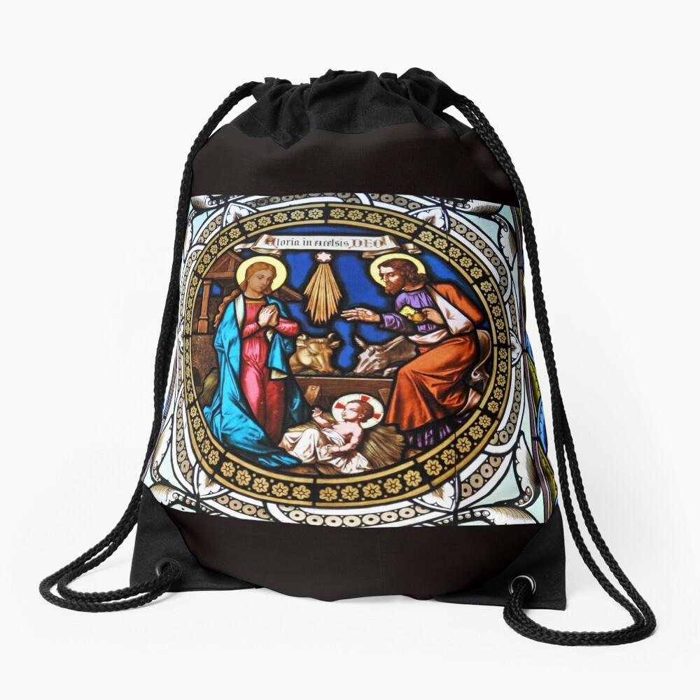 Holy Nativity Stained Glass Mochila saco