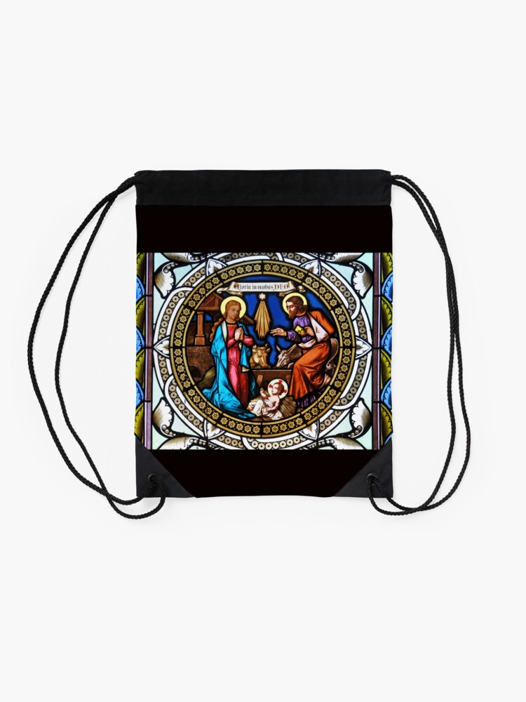 Vista alternativa de Mochila saco Holy Nativity Stained Glass