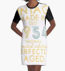 Vintage 1954 Funny Old School 64th Retro Gift T-shirt Graphic T-Shirt Dress