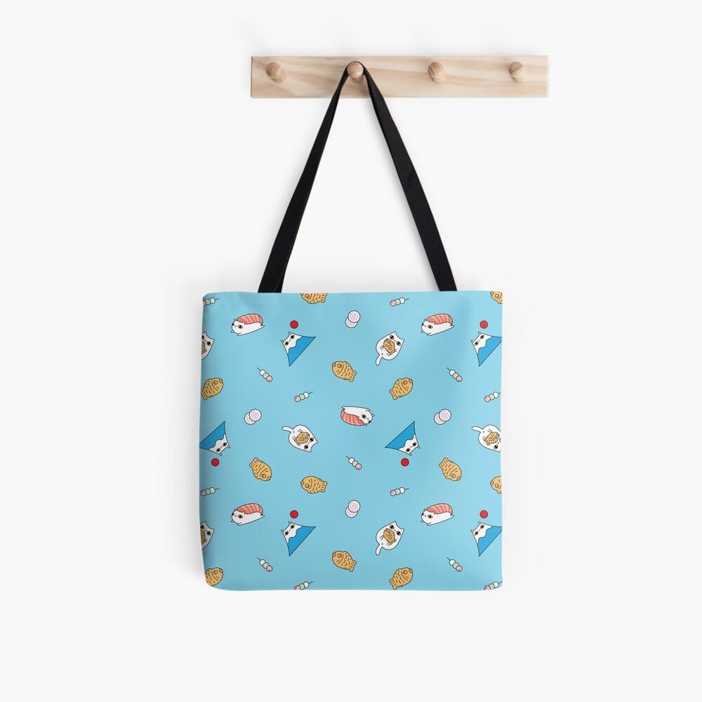 Mount Fuji Cat, Teriyaki Cat and Sushi Cat Pattern in Blue Background  Tote Bag