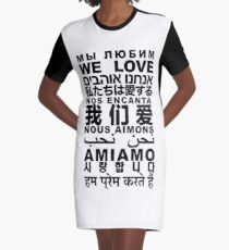 Yandhi - We Love In All Languages Graphic T-Shirt Dress