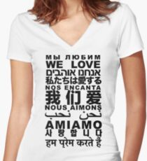 Yandhi - We Love In All Languages Women's Fitted V-Neck T-Shirt