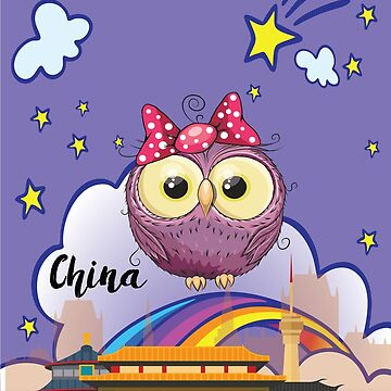 Cute Purple Owl in China Unicorn Background/ Chinese Scenery / Travel with an Owl China Chineese American by ProjectX23
