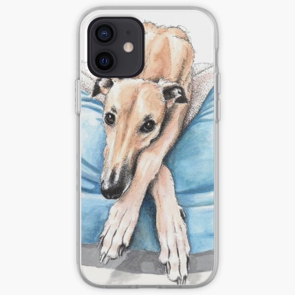 Greyhound on blue bed iPhone Soft Case