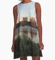 #city #skyline #water #cityscape #urban #river #downtown #sky #panorama #building #architecture #buildings #park #skyscraper #blue #view #reflection #sunset #lake #travel #town #sunrise #landscape A-Line Dress